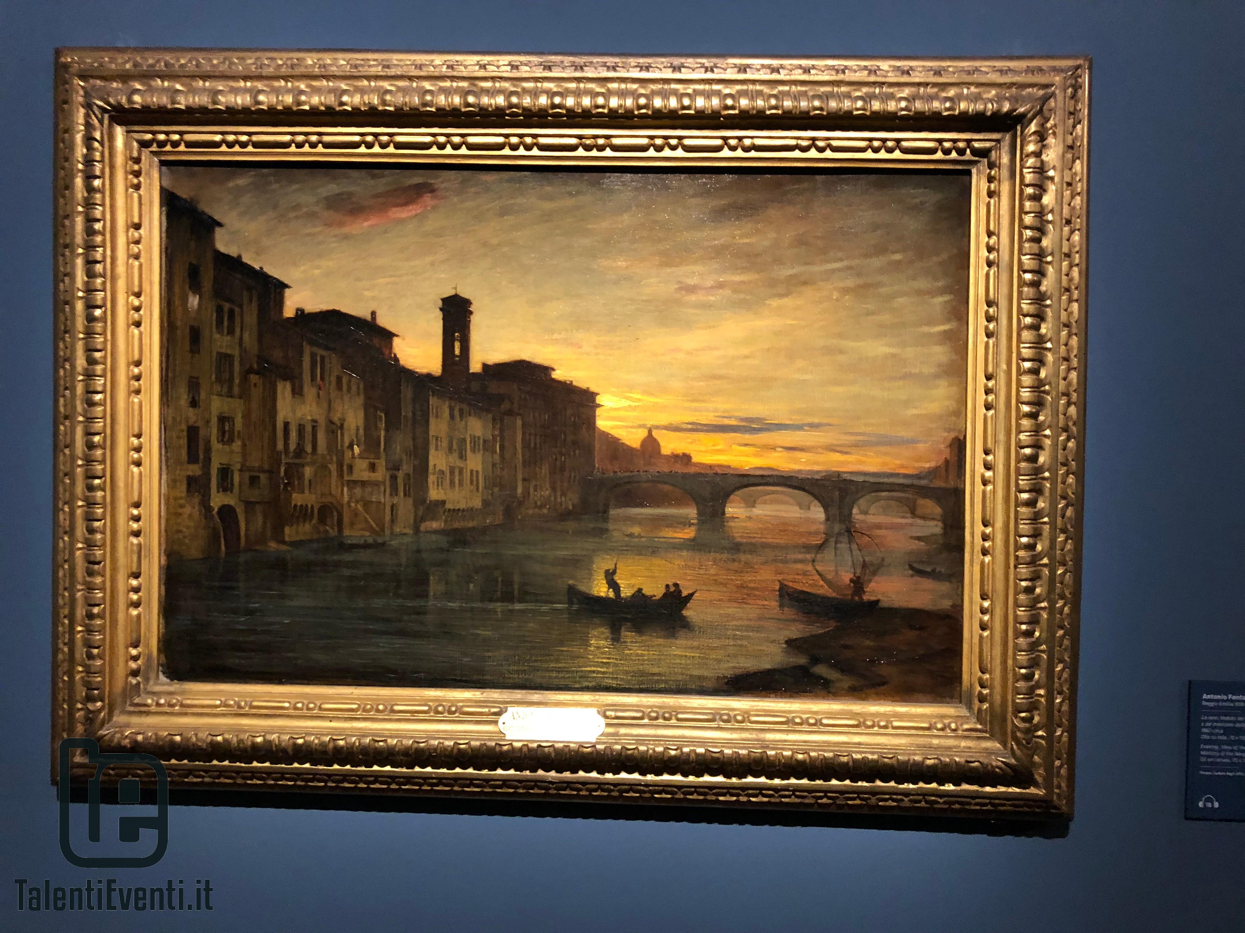 Antonio Fontanesi - La sera. Veduta del ponte di Santa Trinità  del ministero della Marina (Tramonto sull'Arno) - 1867 circa