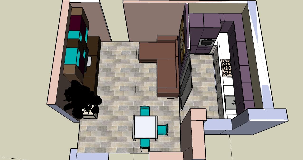 Progettazione zona giorno - Cucina e salotto
